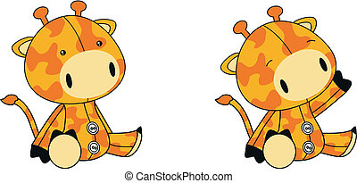 giraffe plush cartoon in vector format