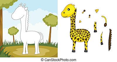 Giraffe puzzle - A vector illustration of a giraffe puzzle