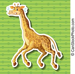 Giraffe running away on green background