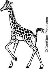 Giraffe Running - Stylized Vector illustration of a Giraffe...