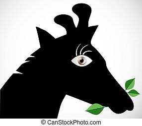 Giraffe Silhouette Eating Leaves with Big Eye Vector Illustration