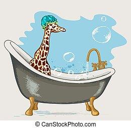 Giraffe sitting in the bathroom