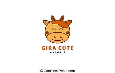 giraffe  smile head face  cute cartoon logo vector  illustration