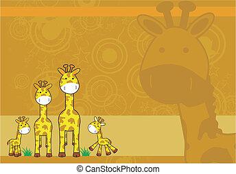 giraffe, spotprent, achtergrond, 04
