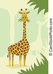 giraffe, spotprent, bomen