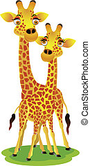 giraffe, spotprent, paar