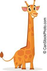 giraffe, spotprent, vrolijke