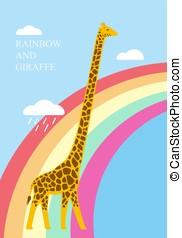 Giraffe standing on the raibow, illustration vector