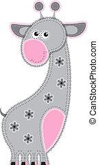 giraffe, stoff, tier, cutout.
