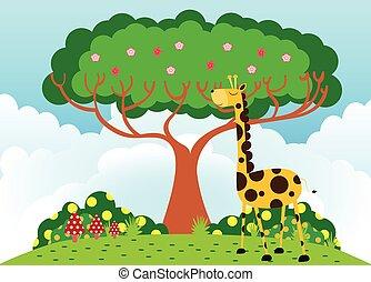 Giraffe under tree in sunny weather