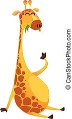 giraffe, vector, illustratie, gekke , cartoon., vrijstaand