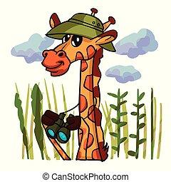 giraffe, vogelbeobachter, karikatur