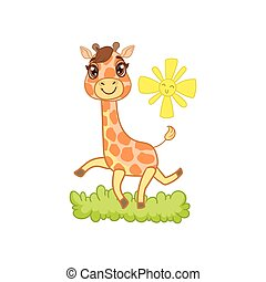 Giraffe Walking Outside