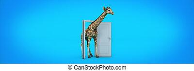 giraffe walks through the open door. 3d rendering