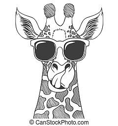 Giraffe wearing eyeglasses hand drawn vector illustration