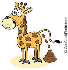 giraffe with a shit