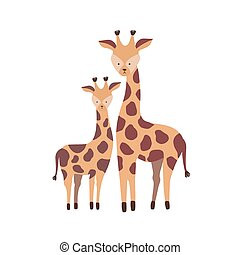 Giraffe with calf isolated on white background. Family of cute wild African savannah herbivorous animals. Parent with child or offspring, mother and baby. Flat cartoon childish vector illustration.