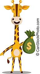 Giraffe with money bag, illustration, vector on white background.