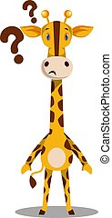 Giraffe with question marks, illustration, vector on white background.