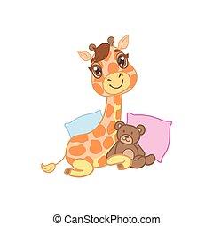 Giraffe With Teddy Bear
