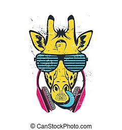 giraffe with tongue in glasses and headphones. Colored print for t-shirt and another, trendy apparel design. Vector illustrations