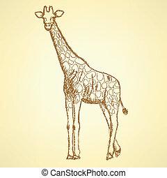 giraffek, vendimia, bosquejo, vector, plano de fondo