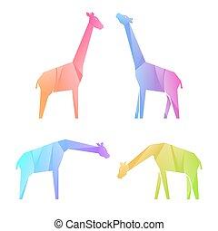 giraffen, satz, steigung, mehrfarbig