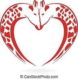 giraffer, i kärlek, hjärta, tatuera, logo