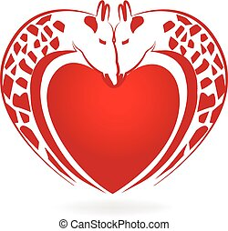 Giraffes in love heart tattoo logo