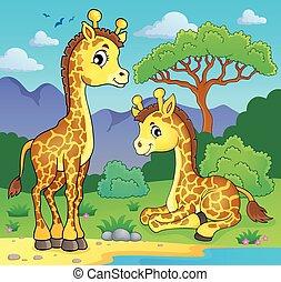 Giraffes in nature theme image 1