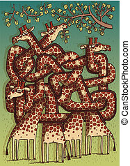 Giraffes Maze Game for children on seperate layers. Task: Which giraffe is eating leafes? Answer: Second one! Illustration is in eps10 vector mode!