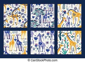 giraffes., seamless, 華やか, patten, セット, ベクトル