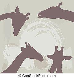 giraffes silhouette on grunge background. vector