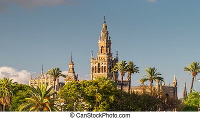 Giralda Spire Bell Tower of Seville Cathedral.