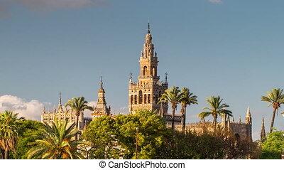 Giralda Spire Bell Tower of Seville Cathedral. - Giralda...