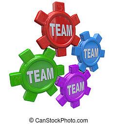 giramento, -, insieme, quattro, lavoro squadra, ingranaggi, squadra