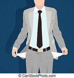 giramento, nessun soldi, dentro, mostra, tasca, uomo affari...