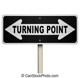 giramento, punto, decisione, bidirezionale, isolato, segno, ...