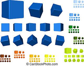 girar, colores, cubos