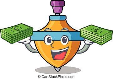 girar, dinero, cima, caricatura, mascota