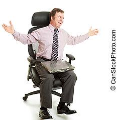 girar, em, cadeira ergonomic