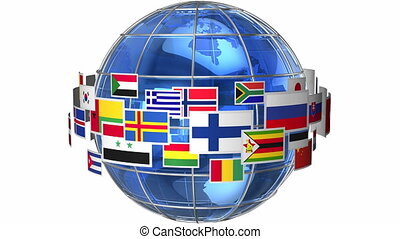 girar, globo, con, mundo, banderas