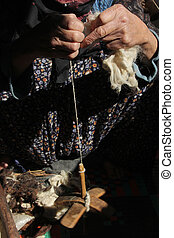 girar, lana, mujeres