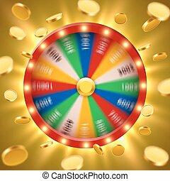 girar, monedas., realista, roulette., afortunado, vuelo, ...