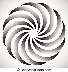 girar, motivo, resumen, shapes., aislado, solo, girar, negro, formas, circular, element., white.