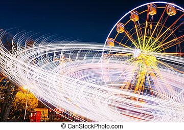 girar, movimento, efeito, iluminado, atração, roda ferris,...