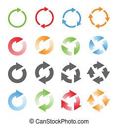 girar, setas, set., vetorial, ilustração