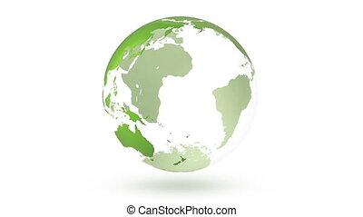 girar, terra, planeta, globo