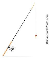 girar, vector, barra, pesca, ilustración
