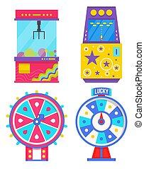 girar, vector, juego, máquina, rueda, fortuna